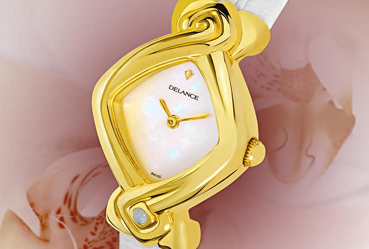 White watches for women - Orchidée: Gold watch, white mother-of-pearl dial, gold-plated hands, gold cabochon with a opal, white alligator strap