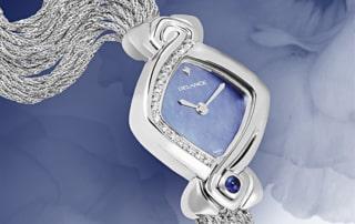 Uhren für Frauen Geburtstag Sweet Sixteen: Stahlduhr mit 16 Diamanten, Zifferblatt Perlmutter blau, vernickelte Hände, Stahlcabochom mit einem Saphir , Silberarmband Cascade