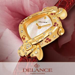 Butterfly Effect : Montre en or sertie de 44 diamants et 32 saphirs roses, cadran nacre blanche, aiguilles dorées, cabochon en or avec 4 diamants, bracelet en alligator rouge