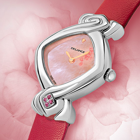 Anae, steel watch for ladies with a pink mother of pearldial, decorated with a pink flower, 4 pink sapphiren at 6, pink fuschia leatherstrap, Swissmade, waterpr