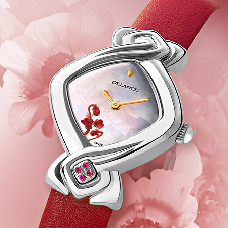 Florencia, steel watch for ladies with a white mother of pearldial, decorated with a pink flower, 4 pink sapphiren at 6, red leatherstrap, Swissmade, waterproof