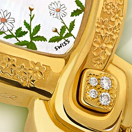 Daisy, montre en or gravée, bracelet or, cadran nacre peint de marguerites, 4 diamants