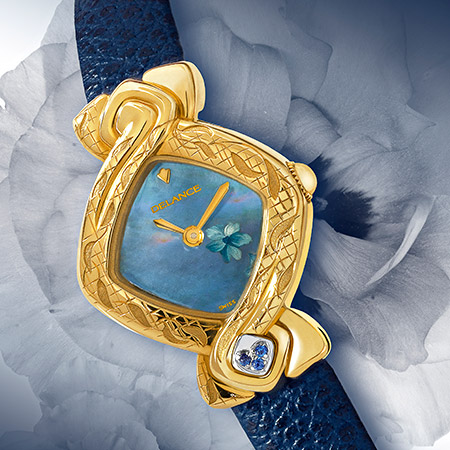 Fang Yin, handengraved gold watch with leather strap, decorated mother of pearl dial, Swissmade