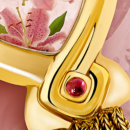 Flora, Golduhr mit Rubin, Gold Armband, bemalte Perlmutterzifferblatt, Swissmade, wasserdicht