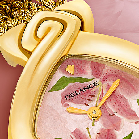 Flora, goldwatch with gold bracelet, one ruby, motherofpearldial decorated, Swissmade, waterproof, chockresistant